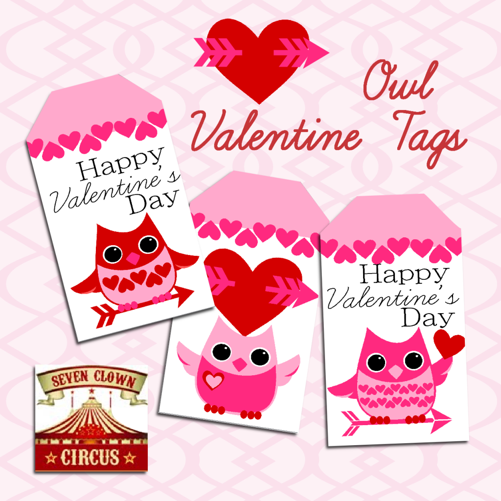 Valentine Owl Printable Tags {Free Printable} | Valentine's Day | Free Printable Owl Valentine Cards