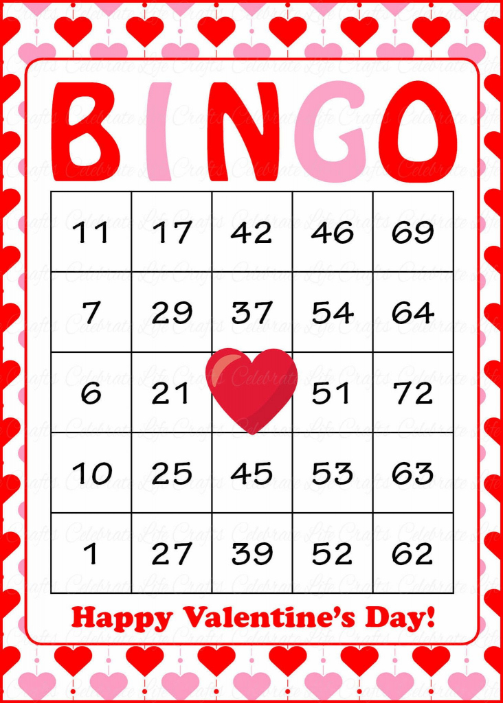 Valentine's Bingo Cards - Printable Download - Prefilled   Printable Valentine Bingo Cards With Numbers