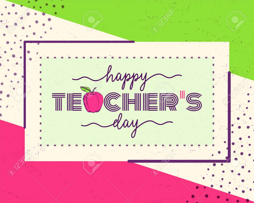 Vector Illustration Of Happy Teachers Day. Greeting Design For   Teachers Day Card Printable