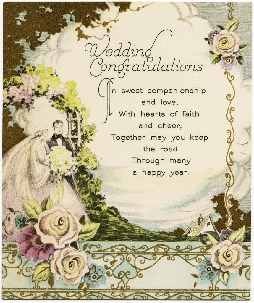Vintage Wedding Congratulations - Old Design Shop Blog | Wedding Wish Cards Printable Free