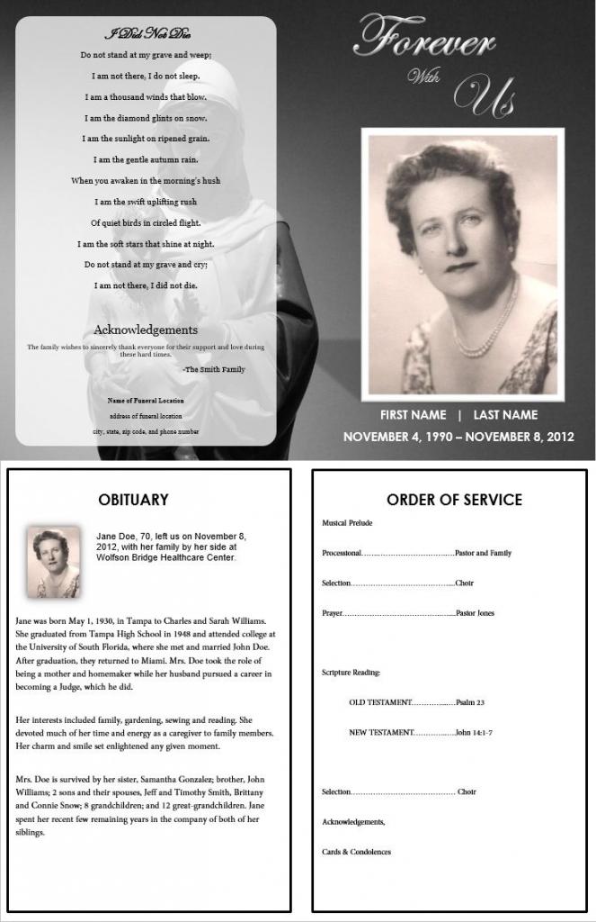 Virgin Mary Memorial Program | Funeral | Memorial Service Program | Free Printable Memorial Card Template