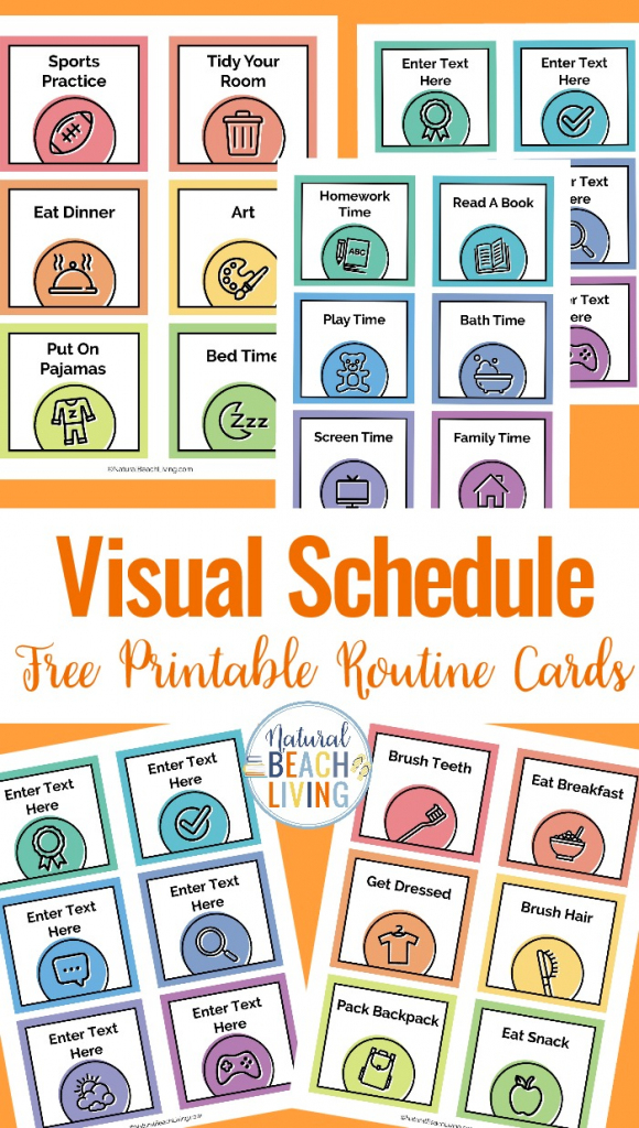 Visual Schedule - Free Printable Routine Cards - Natural Beach Living | Free Printable Schedule Cards