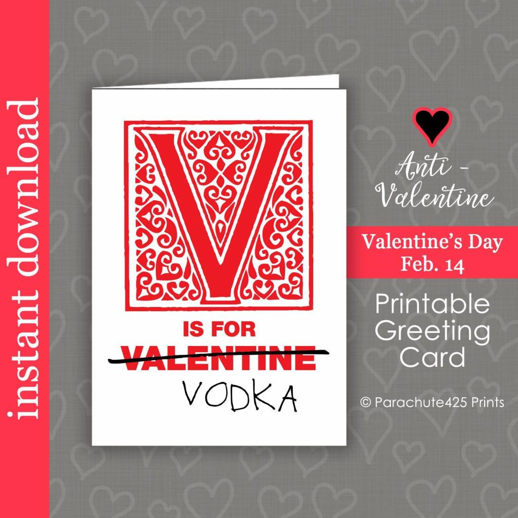 Vodka Printable Valentine Card, Anti Valentine Card, Funny Friend   Etsy Printable Valentines Cards