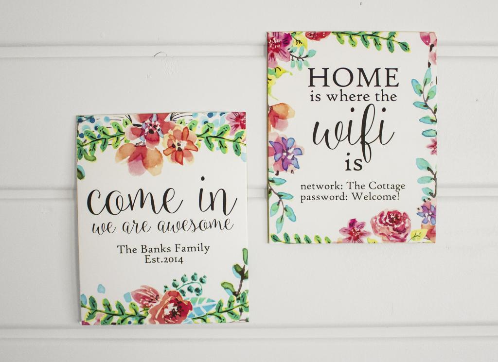Watercolor Custom Wall Art Free Printable - Nufun Activities   Welcome Home Cards Free Printable