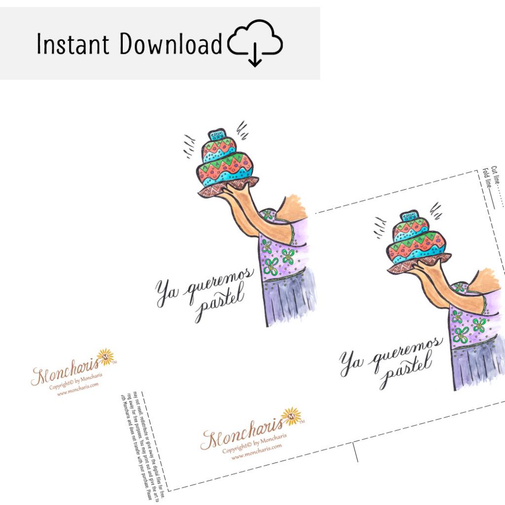 We Want Cake Happy Birthday (Spanish) Printable Card — Moncharis | Happy Birthday In Spanish Card Printable