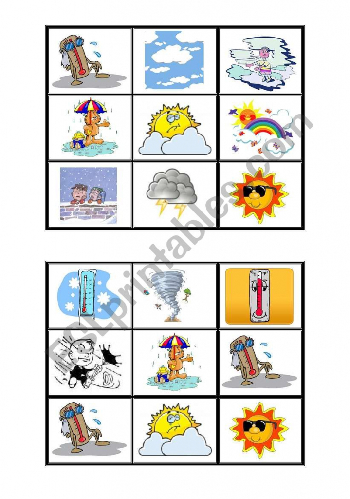 Weather Bingo Cards - Esl Worksheetonecostar | Esl Bingo Cards Printable