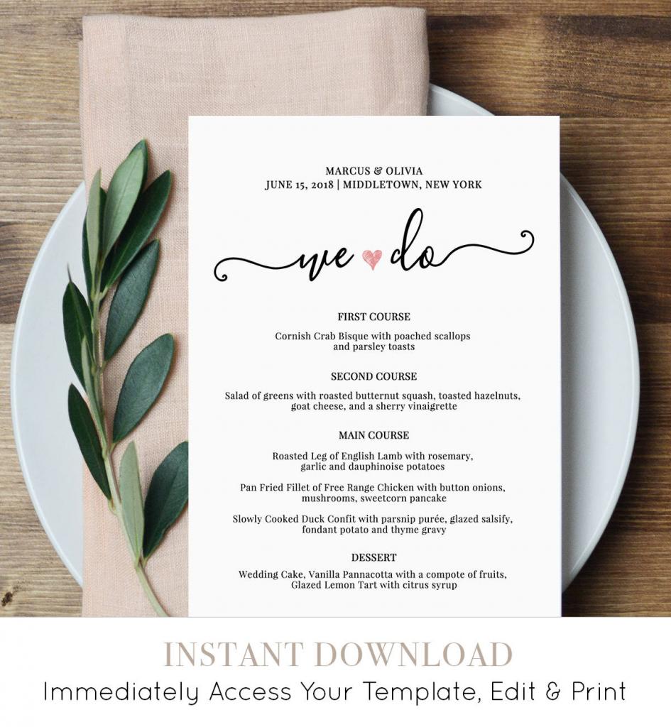 Wedding Menu Card Template, We Do, Printable Dinner Menu, Heart | Free Printable Wedding Menu Card Templates