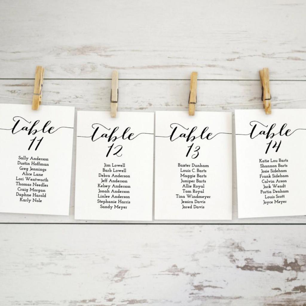 Wedding Seating Chart Template, Wedding Seating Chart Printable | Printable Wedding Seating Cards