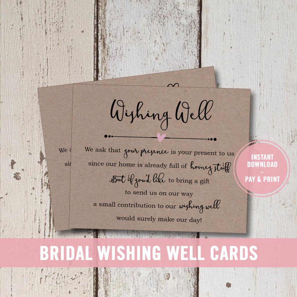 Wedding Wishing Well Card Printable, Bridal Shower Wishing Well | Printable Gift Registry Cards