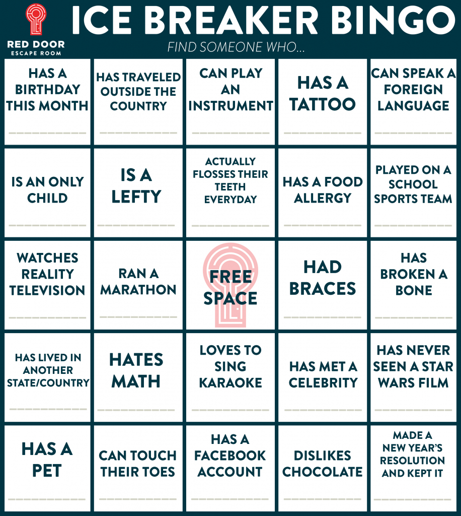 Welcome! | Red Door Blog | Printable Icebreaker Bingo Cards