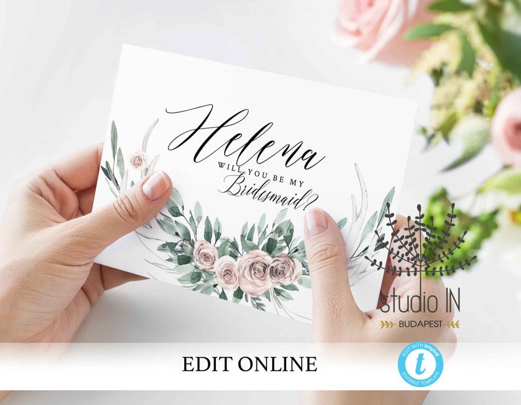 Will You Be My Bridesmaid Card Printable Blush Bridesmaid | Etsy | Will You Be My Bridesmaid Cards Printable