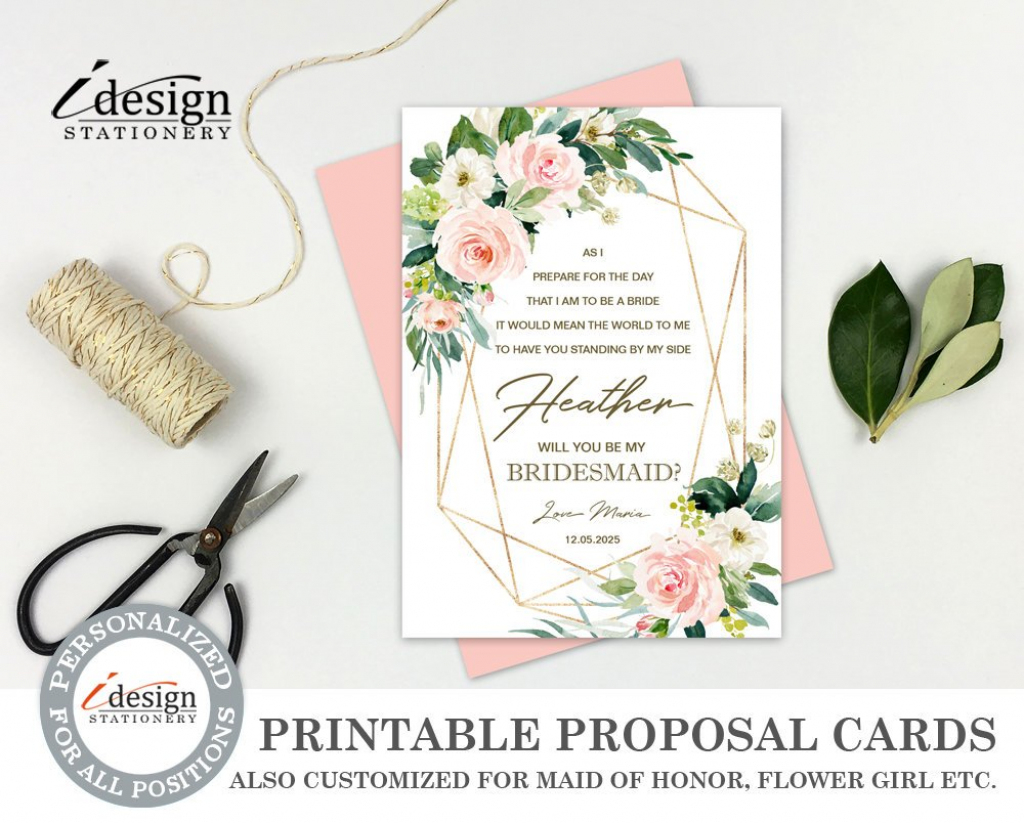 Will You Be My Bridesmaid Card Printable Bridesmaid Proposal   Etsy   Printable Bridesmaid Proposal Cards