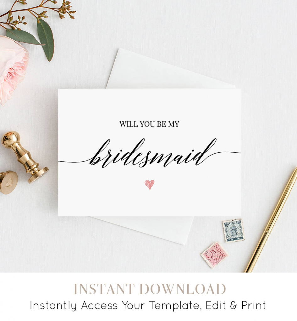 Will You Be My Bridesmaid Printable Card Ask To Be | Etsy | Will You Be My Bridesmaid Cards Printable