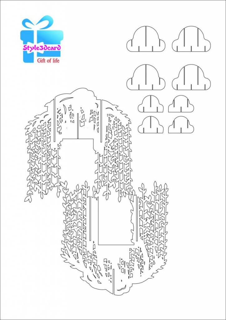 Willow Tree Pop Up Card/kirigami Pattern 2 | Pop Up Cards | Pop Up | Free Printable Kirigami Pop Up Card Patterns