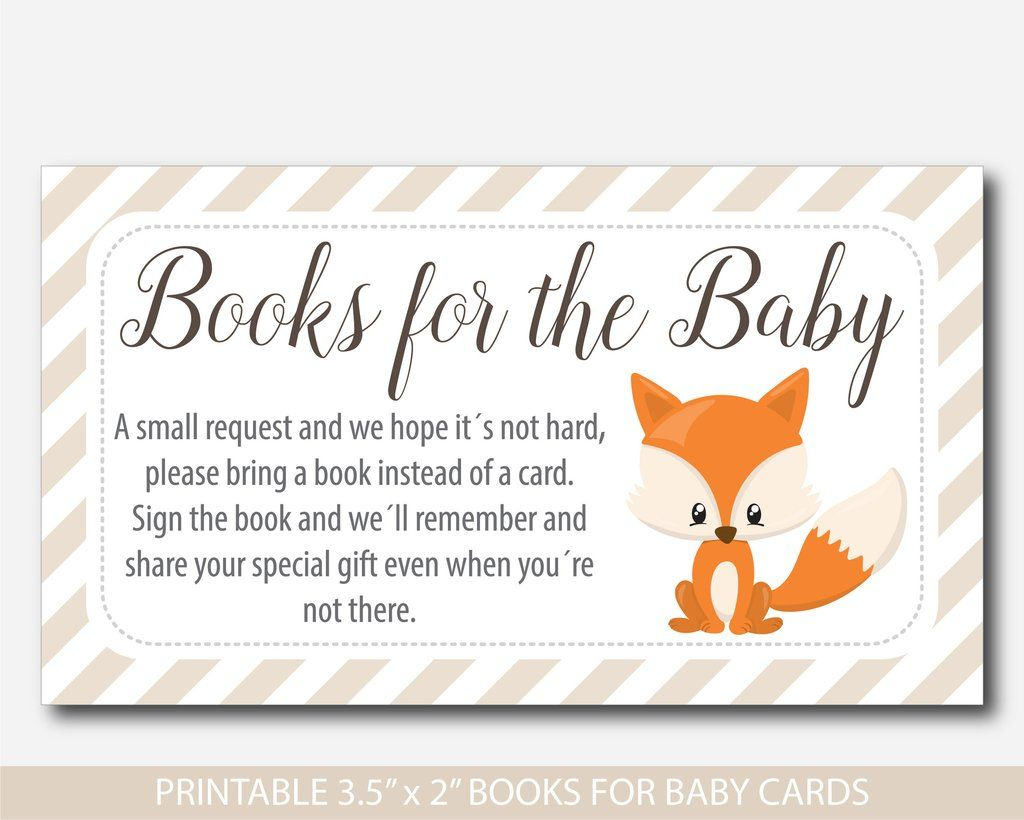 Woodland Bring A Book Instead Of A Card Inserts, Woodland Baby   Please Bring A Book Instead Of A Card Printable