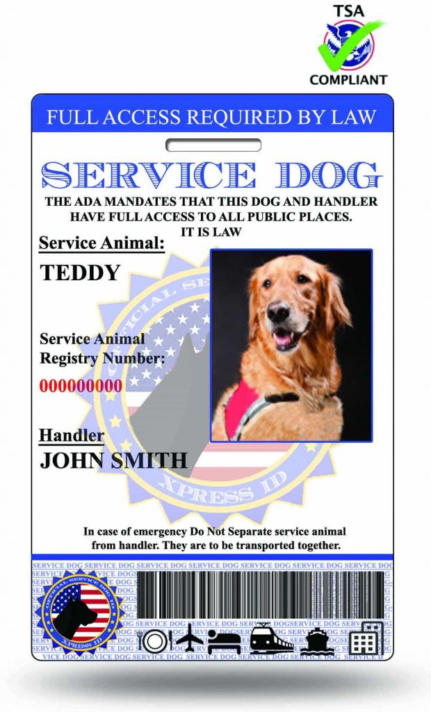 Xpressid Service Dog Id | Emotional Support Animal Id | Therapy Dog Id | Printable Ada Service Dog Card