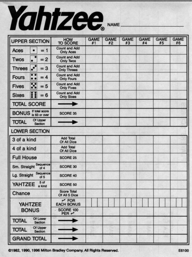 Yahtzee Score Sheets Free Printable   Blank Yahtzee Score Sheet   Printable Yahtzee Score Cards Pdf