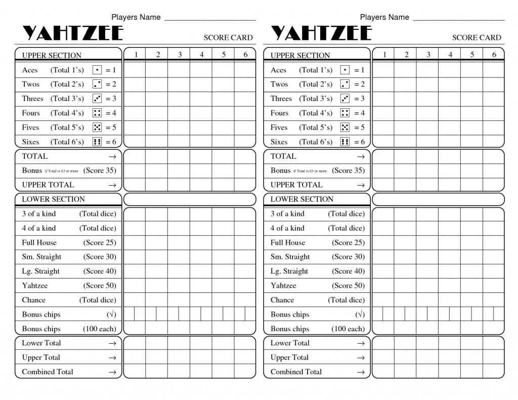 Yatzee Printable Score Sheets   Yahtzee Score Card   All For Fun   Printable Yahtzee Score Cards Pdf