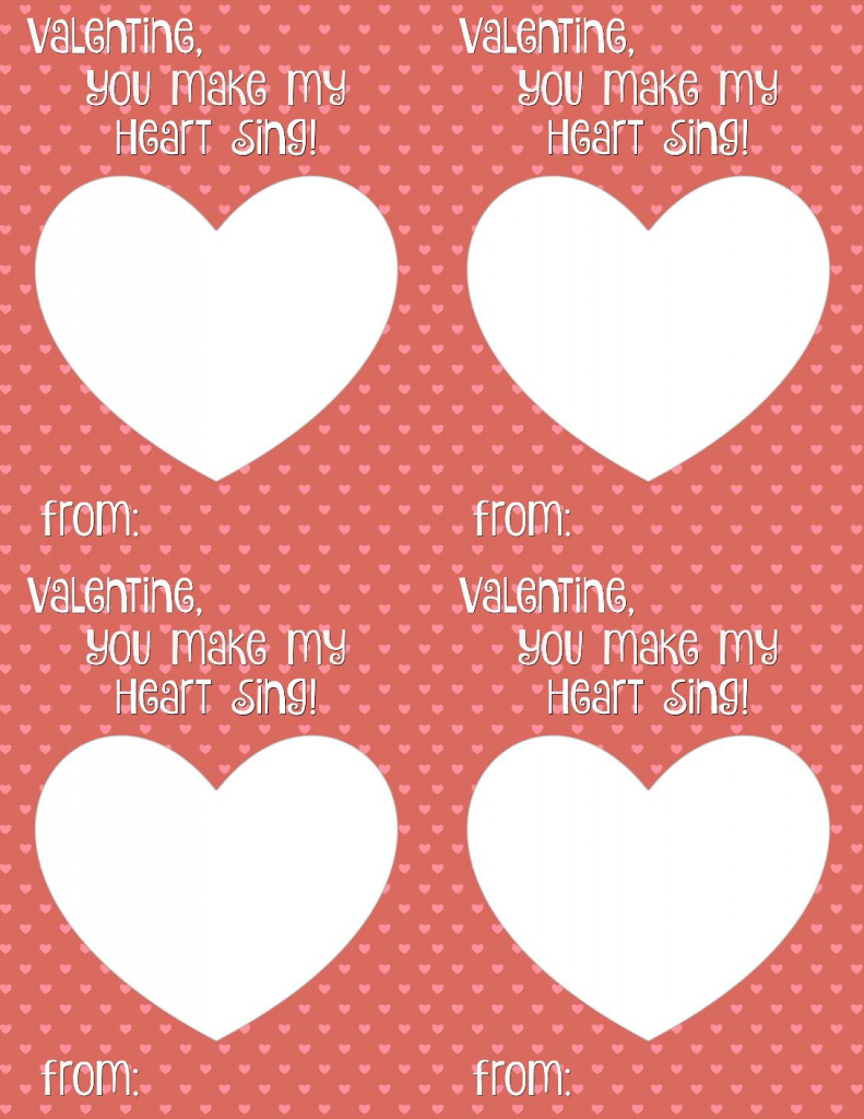 You Make My Heart Sing Valentine Card Printable - Smashed Peas & Carrots   Make Valentines Cards Printable