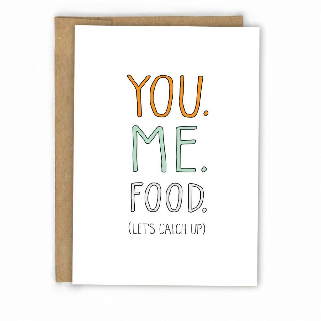 You. Me + Food! Friendship Card | Mail Time | Friendship Cards | Funny Friendship Cards Printable